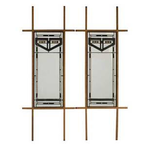 Leaded glass pair of panels usa late 20th c oak glass hammered glass slag glass and lead caning unmarked each panel 33 14 x 13