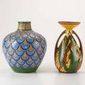 French art deco two pottery vases twohandled de bruyn fils vase with flared rim and marcel renson vase in enamels both marked tallest 10