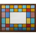 Hall mirror constructed from a period stained glass window tinted with a central mirror pane pine glass and mirror 20th c 42 x 54