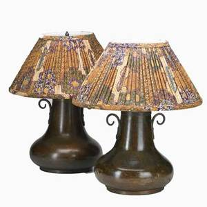 Arts and crafts style pair of patinated copper table lamps 20th c unmarked each overall 20 x 15