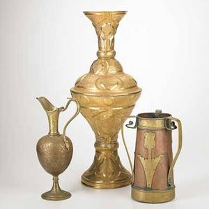 Brass and copper group arts and crafts three handled container together with brass ewer and middle eastern tall vase 19th20th c tallest 27