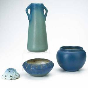 Van briggle four pieces in lapis and light blue glaze 19161920s tall vase with dragonfly handles bowl dated 1916 low bowl with flowers and flower frog all marked tallest 10 12