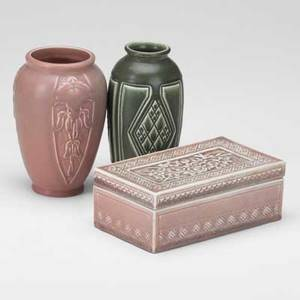 Rookwood three production pieces 19231927 two cabinet vases and a trinket box all with flame mark tallest 6