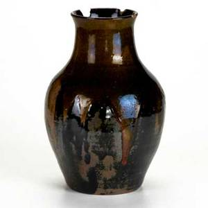 Oscar louis bachelder rare vase in mossy brown over mirrored black glaze signed with artists cypher 11 14 x 7