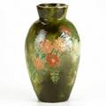 Louise mclaughlin cincinnati faience barbotine vase with flowers 1878 signed and dated 10 14 x 5 14