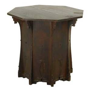 Style of charles rohlfs octagonal lamp table with carved plank sides usa early 20th c quartersawn oak some early 20th c sections some later reconstruction unmarked 30 x 32 sq