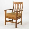 Stickley brothers armchair with curved vertical back slats dropin spring seat quartersawn oak and fabric upholstery early 20th c unmarked 39 x 26 x 23
