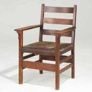 Gustav stickley ladderback armchair usa early 20th c quartersawn oak and tacked on leather seat red compass mark 36 x 25 x 22