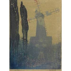 Noel heath british 19th20th c color woodblock on rice paper windmill chelesbury framed signed and dated 11 x 8