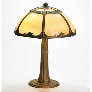 Miller slag glass and patinated metal table lamp meriden ct ca 1915 base stamped miller 22 x 16