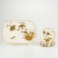 American beleek ott  breuer five pieces 19th20th c hand decorated some marked tray 8 x 11 14