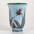 Kenton hills flaring vase painted with green and brown flowers on mottled blue ground floral stamp hb 95 artist ds 9 x 7