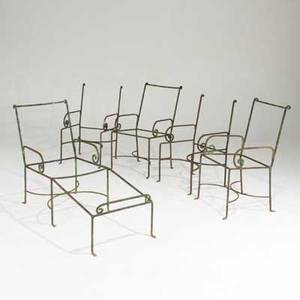 Addison misner a set of four iron garden chairs and one chaise usa 1900s unmarked chairs 36 x 19 x 25 chaise 33 12 x 54 x 20