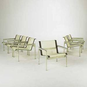 Richard schultz knoll set of six armchairs usa 1960s mesh leather painted metal and enameled steel unmarked each 26 x 26 x 28