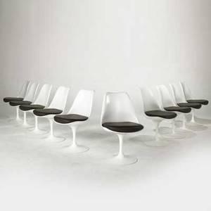 Eero saarinen knoll studio set of ten tulip side chairs usa 2000s enameled aluminum lacquered fiberglass and vinyl all metal labels 32 x 19 12 x 21 12