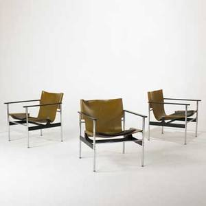 Charles pollack knoll international three lounge chairs model 657 usa 1970s chromed steel plastic and saddle leather one paper label each 28 x 25 x 27