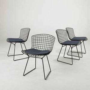 Harry bertoia knoll inc set of four side chairs usa 2000s plastic coated metal and wool upholstery paper labels each 29 x 21 x 23