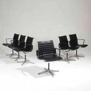 Charles and ray eames herman miller set of six aluminum group armchairs usa 1950s aluminum vinyl plastic and painted aluminum all embossed each 33 x 22 x 20