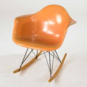 Charles and ray eames herman miller rocking chair rar usa 1960s fiberglass enameled metal and birch unmarked 27 x 25 x 27 12