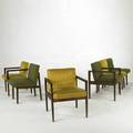 George nelson herman miller set of six chairs three side and three arm usa 1950s walnut and upholstery four with metal labels armchair 30 x 23 14 x 25