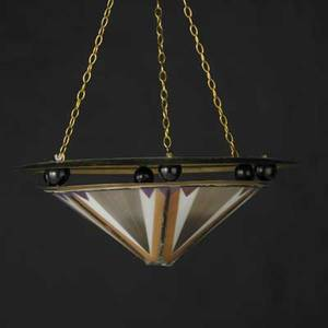 Art deco style colored glass and brass chandelier unmarked shade only 7 x 20 diam
