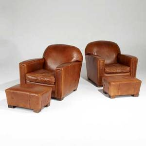 Art deco style pair of club chairs and matching ottomans usa 1990s distressed leather stained wood abc home  carpet labels chair 32 x 34 x 38 ottoman 13 x 23 x 17