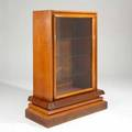 Art deco curio cabinet europe 1920s mahogany burlwood maple and glass unmarked 64 12 x 50 12 x 22
