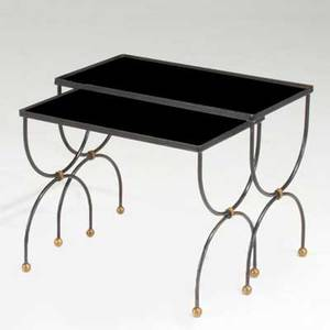 Jacques adnet attr two nesting tables france 1950s enameled wroughtiron and brass unmarked taller 17 x 21 12 x 12