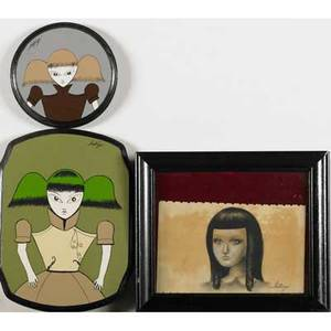 Santiago rubino argentinean b 1979 three works of art two painted panels and one framed work on paper all signed 11 12 x 8 34 largest 6 34 diameter smallest