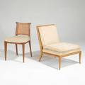 Th robsjohn gibbings and edward wormley lounge chair and side chair usa 1950s walnut mahogany cane and upholstery unmarked slipper chair 31 12 x 26 12 x 34