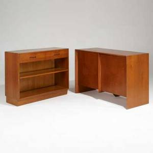 Th robsjohn gibbings edward wormley twodoor walnut cabinet together with twodrawer mahogany cabinet usa 1950s fabric label and branded gibbings 31 x 48 12 x 20 wormley 32 x 41 12 x