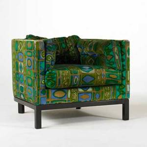 Edward wormley dunbar club chair usa 1960s jack lenor larson upholstery on mahogany base dunbar fabric label 28 x 32 x 34