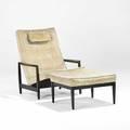 Edward wormley dunbar lounge chair and ottoman usa 1960s mahogany velvet upholstery unmarked 38 x 33 x 35 16 x 25 x 27