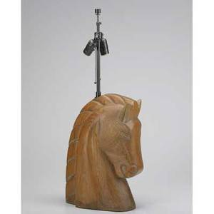 Style of billy haines horse head table lamp in limed oak usa 1950s two socket unmarked 29