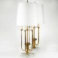 Style of tommi parzinger pair of fivelight table lamps usa 1950s brass and polished marble unmarked 36 x 9 dia