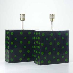Polka dot pair of lacquered wood table lamps 1960s unmarked each 15 x 10 x 4