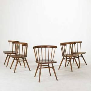 George nakashima knoll set of five side chairs usa 1940s birch and walnut unmarked each 30 x 33 x 19 12