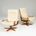 Je ekornes pair of tiltswivel lounge chairs denmark 1980s laminated wood leather and canvas unmarked each 38 12 x 29 12 x 32