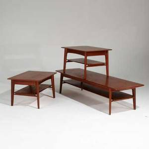 Svend age madsen teak coffee table and pair of singledrawer sofa tables denmark 1960s stamped coffee table sofa tables18 x 30 12 x 32