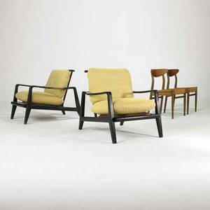 Danish modern pair of lounge chairs and pair of side chairs 1950s60s painted wood teak upholstery and woven cord unmarked lounge chair 30 x 28 x 37 side chair 30 x 18 34 x 19
