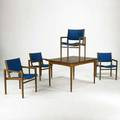 Danish modern dining suite cabinet fliptop dining table and four dining armchairs 1950s teak walnut brass and upholstery chairs marked henderson and cabinet marked hugo troeds cabinet 31 x