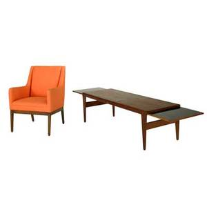 Jens risom etc lounge chair and coffee table usadenmark 1960s wool walnut teak and laminate chair metal label chair 36 x 27 x 27 12 coffee table as shown 19 x 86 12 x 23 12