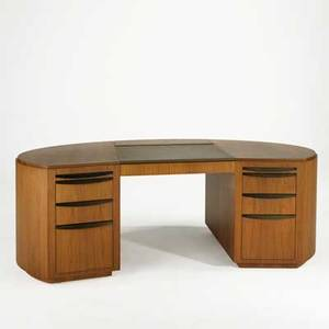 Contemporary furniture custom oivoid executive desk usa late 20th c walnut with bronzed pulls and leather top unmarked 30 x 83 x 39