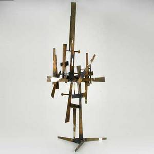 Abstract sculpture modernist style iron bronze silver and gold leaf probably american ca 1960 unmarked 41 x 23 x 19 12