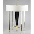 Stiffel large footed table lamp usa 1950s polished brass ebonized wood and paper shade four socket unmarked 34 x 24