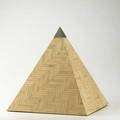 Maitland smith attr decorative pyramid usa ca 1990 tessellated bone or ivory and nickelplated brass marked with retailers label 16 x 14 12 sq international bids and bids issuing fro