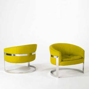 Style of milo baughman pair of club chairs usa 1970s chromed steel and wool each 27 x 30 x 26