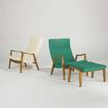 Milo baughman thayer coggin two lounge chairs and two ottomans usa 1950s wool vinyl and birch all labeled each chair 34 x 30 x 32 each ottoman 15 x 27 12 x 20