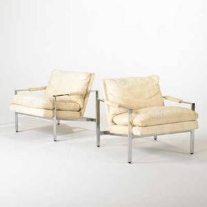 Milo baughman thayer coggin pair of club chairs usa 1970s chromed steel and cotton fabric label 27 x 29 x 34