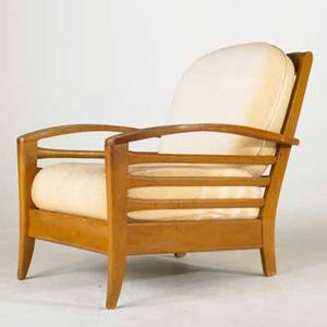 Heywood wakefield lounge chair usa 1950s maple with champagne finish and upholstery unmarked 31 x 30 x 36